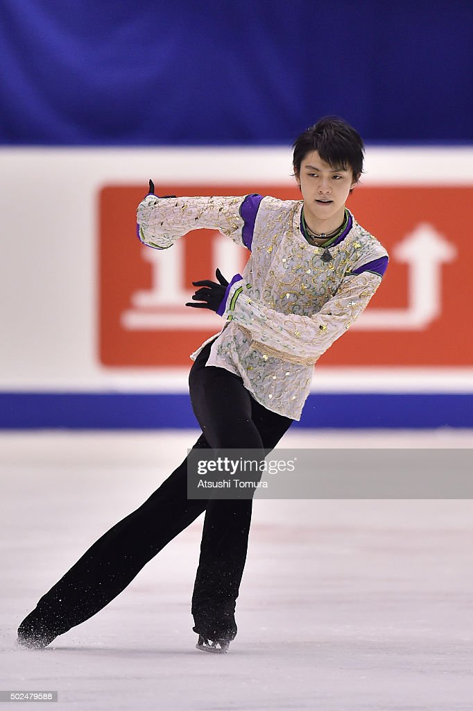 Yuzuru Hanyu of Japan competes in the Men free skating during the day two of the 2015 Japan Figure Skating Championships at the Makomanai Ice Arena on December 26, 2015 in Sapporo, Japan.