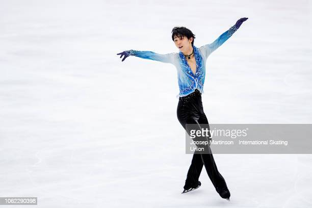 Yuzuru Hanyu of Japan competes in the Men's Short Program during day 1 of the ISU Grand Prix of Figure Skating, Rostelecom Cup 2018 at Arena...