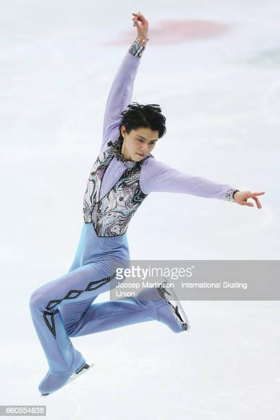 Yuzuru Hanyu of Japan competes in the Men's Short Program during day two of the World Figure Skating Championships at Hartwall Arena on March 30 2017...