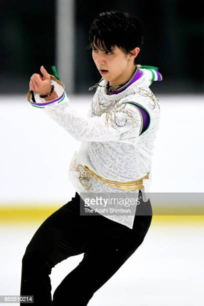 Yuzuru Hanyu of Japan competes in the Men's Singles Free Skating during day three of the Autumn Classic International at Sportplexe Pierrefonds on...