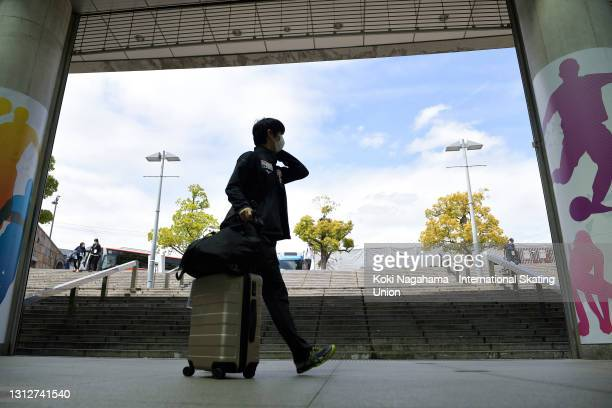 Yuzuru Hanyu of Japan enters the alena on day two of ISU World Team Trophy at Maruzen Intec Arena Osaka on April 16, 2021 in Osaka, Japan.