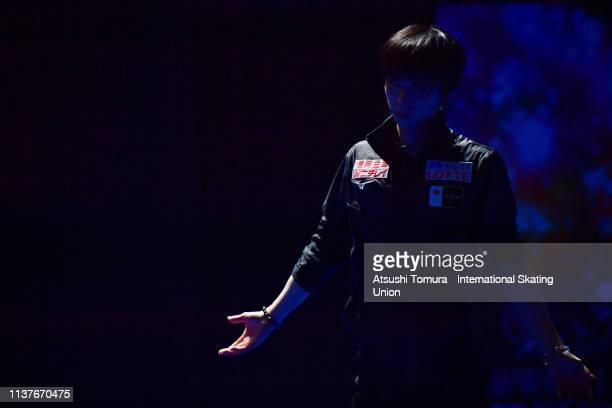 Yuzuru Hanyu of Japan exercises prior to the Men's Free Skating on day four of the 2019 ISU World Figure Skating Championships at Saitama Super Arena...