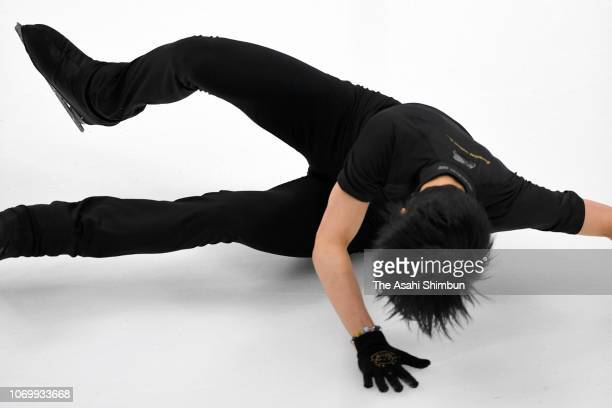Yuzuru Hanyu of Japan falls during a training session ahead of the Men's Singles Free Skating during day two of the ISU Grand Prix of Figure Skating...