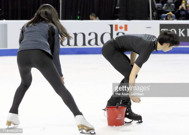 Yuzuru Hanyu of Japan helps resurfacing after a practice during the ISU Grand Prix of Figure Skating Canada at Prospera Place on October 26 2019 in...