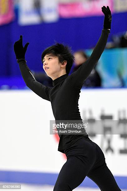 Yuzuru Hanyu of Japan in action during a practice session prior to competing in Men's Singles free skating during day two of the ISU Grand Prix of...
