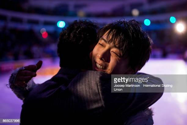 Yuzuru Hanyu of Japan is congratulated in the Gala Exhibition during day three of the ISU Grand Prix of Figure Skating Rostelecom Cup at Ice Palace...