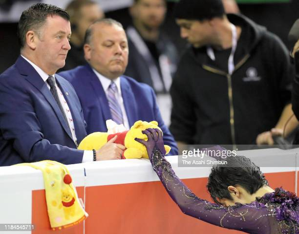 Yuzuru Hanyu of Japan is seen prior to competing in the Men's Free Skating during the ISU Grand Prix of Figure Skating Canada at Prospera Place on...