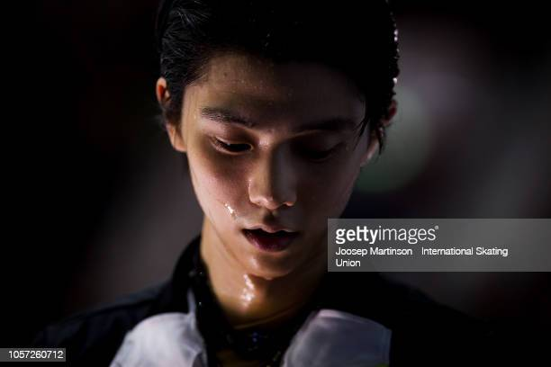Yuzuru Hanyu of Japan looks on at the kiss and cry in the Men's Free Skating during day three of the ISU Grand Prix of Figure Skating at the Helsinki...