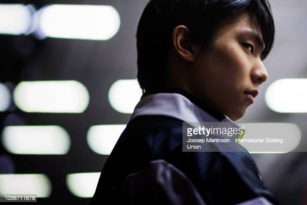 Yuzuru Hanyu of Japan looks on in the Men's Short Program during day two of the ISU Grand Prix of Figure Skating at the Helsinki Arena on November 3...
