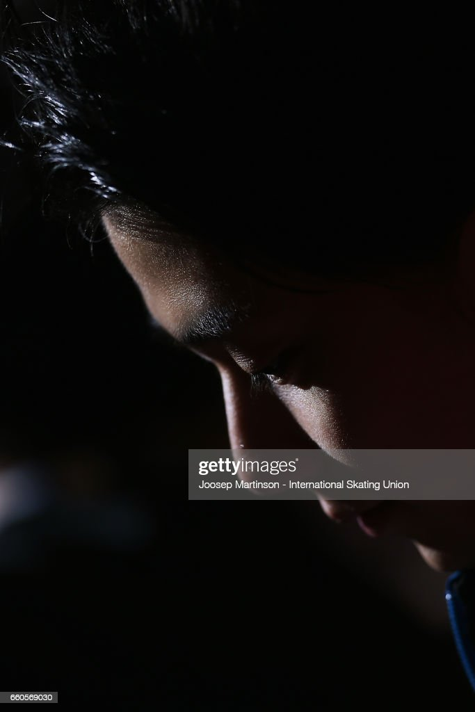 Yuzuru Hanyu of Japan looks on in the Men's Short Program press conference during day two of the World Figure Skating Championships at Hartwall Arena on March 30, 2017 in Helsinki, Finland.