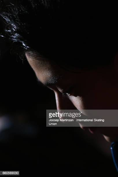 Yuzuru Hanyu of Japan looks on in the Men's Short Program press conference during day two of the World Figure Skating Championships at Hartwall Arena...