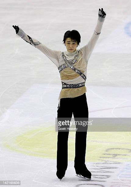 Yuzuru Hanyu of Japan performs during day six of the ISU World Figure Skating Championships on March 31, 2012 in Nice, France.