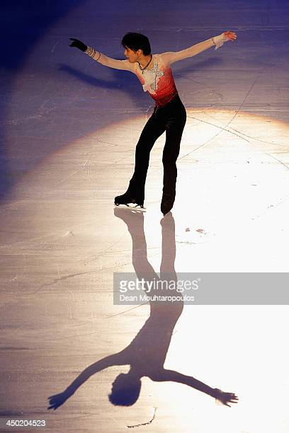 Yuzuru Hanyu of Japan performs during in the Gala Exhibition on day three of Trophee Eric Bompard ISU Grand Prix of Figure Skating 2013/2014 at the...