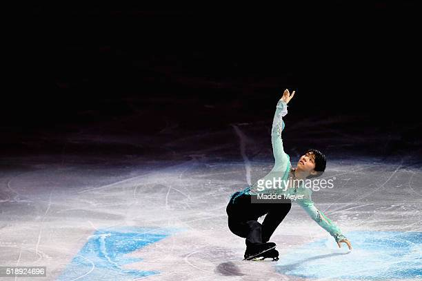 Yuzuru Hanyu of Japan performs during the Exhibition of Champions on Day 7 of the ISU World Figure Skating Championships 2016 at TD Garden on April 3...