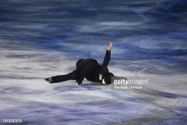 Yuzuru Hanyu of Japan performs during the gala exhibition of the ISU World Team Trophy at Maruzen Intec Arena Osaka on April 18, 2021 in Osaka, Japan.