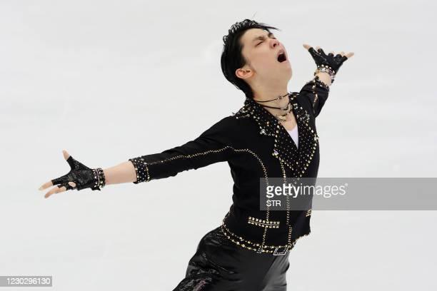 Yuzuru Hanyu of Japan performs during the men's short program at the Japan's figure skating national championships in Nagano on December 25, 2020. -...