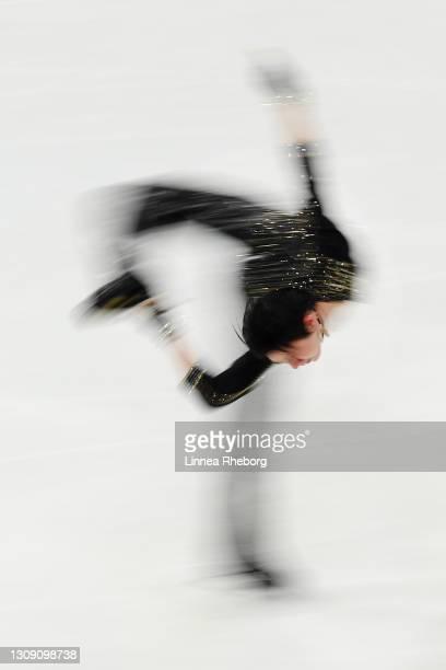 Yuzuru Hanyu of Japan performs during the Men's Short Program during ISU World Figure Skating Championships at Ericsson Globe on March 25, 2021 in...
