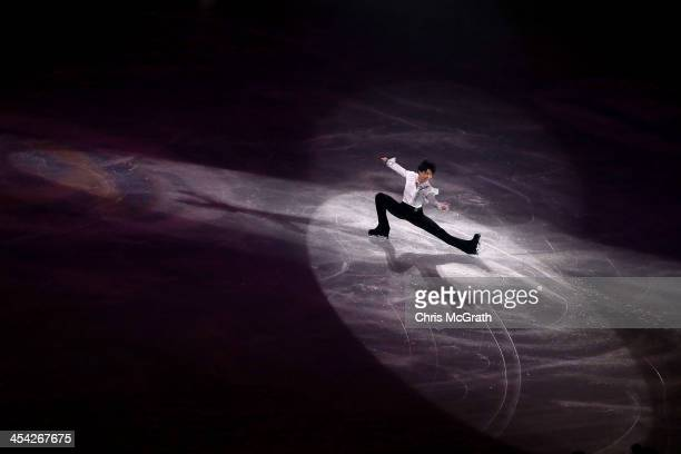 Yuzuru Hanyu of Japan performs his routine in the ISU Gala during day four of the ISU Grand Prix of Figure Skating Final 2013/2014 at Marine Messe...