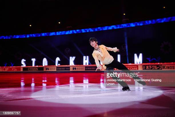 Yuzuru Hanyu of Japan performs in the Gala Exhibition during day five of the ISU World Figure Skating Championships at Ericsson Globe on March 28,...