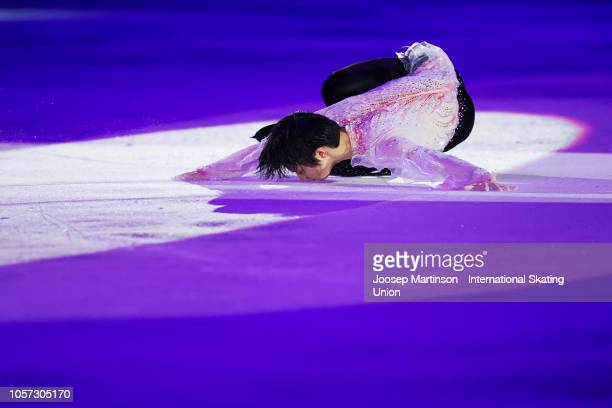 Yuzuru Hanyu of Japan performs in the Gala Exhibition during day three of the ISU Grand Prix of Figure Skating at the Helsinki Arena on November 4,...