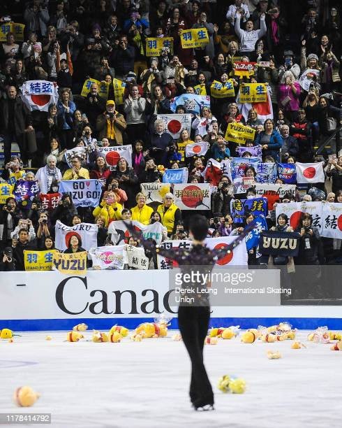 Yuzuru Hanyu of Japan performs in the mens free skating placing first with a score of 21299 during the ISU Grand Prix of Figure Skating Canada at...