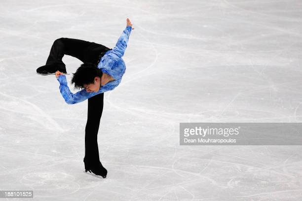 Yuzuru Hanyu of Japan performs in the Mens Short Program during day one of Trophee Eric Bompard ISU Grand Prix of Figure Skating 2013/2014 at the...