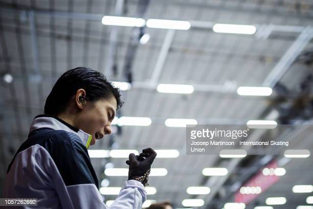 Yuzuru Hanyu of Japan prepares in the Men's Free Skating during day three of the ISU Grand Prix of Figure Skating at the Helsinki Arena on November...