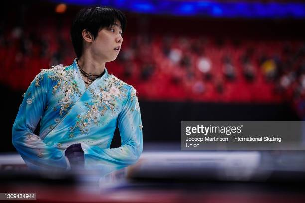 Yuzuru Hanyu of Japan prepares in the Men's Free Skating during day four of the ISU World Figure Skating Championships at Ericsson Globe on March 27,...