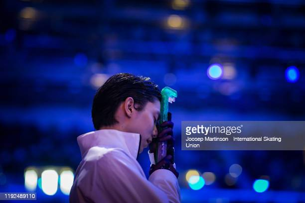 Yuzuru Hanyu of Japan prepares in the Men's Free Skating during the ISU Grand Prix of Figure Skating Final at Palavela Arena on December 07, 2019 in...