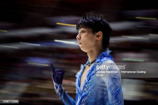 Yuzuru Hanyu of Japan prepares in the Men's Short Program during day two of the ISU Grand Prix of Figure Skating at the Helsinki Arena on November 3...