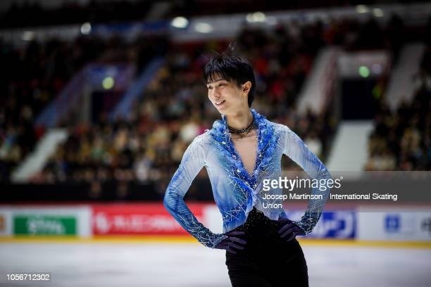 Yuzuru Hanyu of Japan prepares in the Men's Short Program during day two of the ISU Grand Prix of Figure Skating at the Helsinki Arena on November 3,...