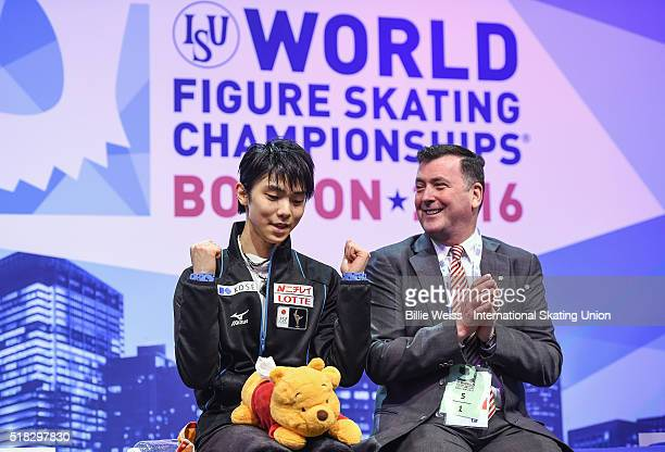 Yuzuru Hanyu of Japan reacts after competing and earning a first place score during Day 3 of the ISU World Figure Skating Championships 2016 at TD...
