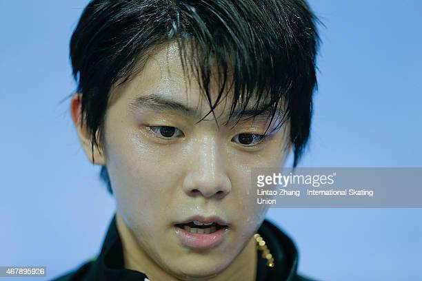 Yuzuru Hanyu of Japan reacts after competing in the Ice DanceMan Free Skating Program on day four of the 2015 ISU World Figure Skating Championships...