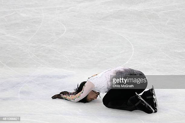 Yuzuru Hanyu of Japan reacts after finishing his routine in the Men's Free Skating during ISU World Figure Skating Championships at Saitama Super...