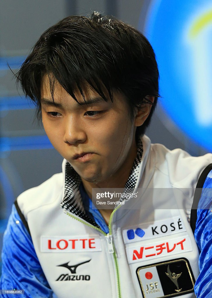 Yuzuru Hanyu of Japan reacts after hearing his score during the men's short program at the ISU GP 2013 Skate Canada International at Harbour Station on October 25, 2013 in Saint John, New Brunswick, Canada.