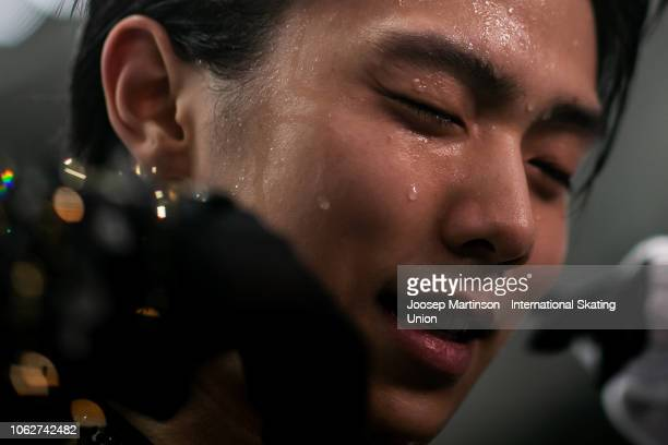 Yuzuru Hanyu of Japan reacts after the Men's Free Skating during day 2 of the ISU Grand Prix of Figure Skating Rostelecom Cup 2018 at Arena Megasport...
