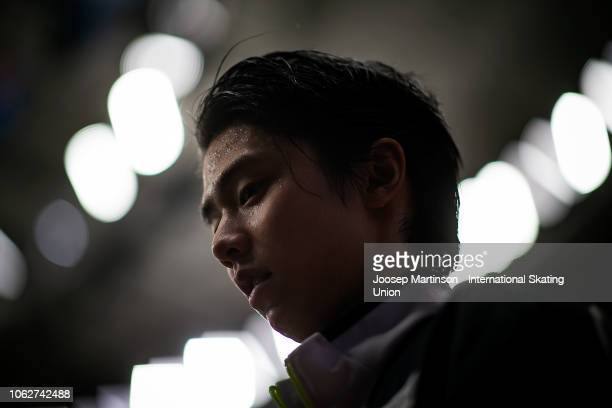 Yuzuru Hanyu of Japan reacts after the Men's Free Skating during day 2 of the ISU Grand Prix of Figure Skating, Rostelecom Cup 2018 at Arena...