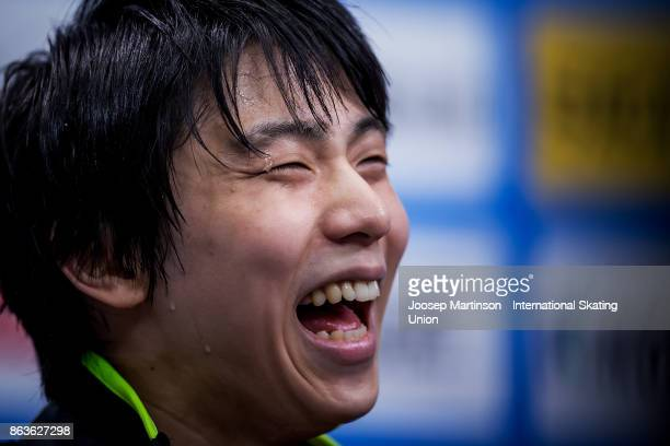 Yuzuru Hanyu of Japan reacts after the Men's Short Program during day one of the ISU Grand Prix of Figure Skating Rostelecom Cup at Ice Palace...
