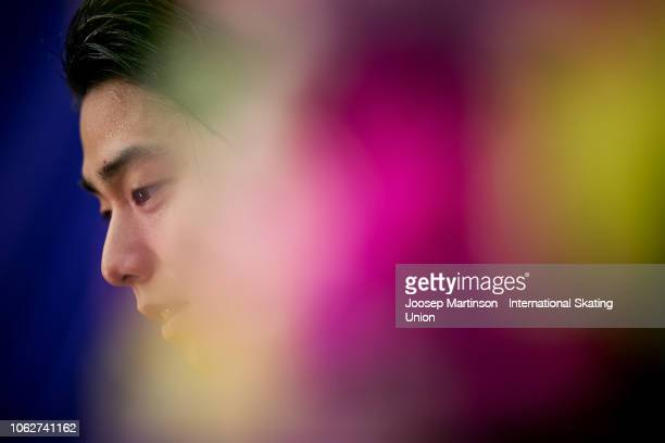 Yuzuru Hanyu of Japan reacts at the kiss and cry in the Men's Free Skating during day 2 of the ISU Grand Prix of Figure Skating Rostelecom Cup 2018...