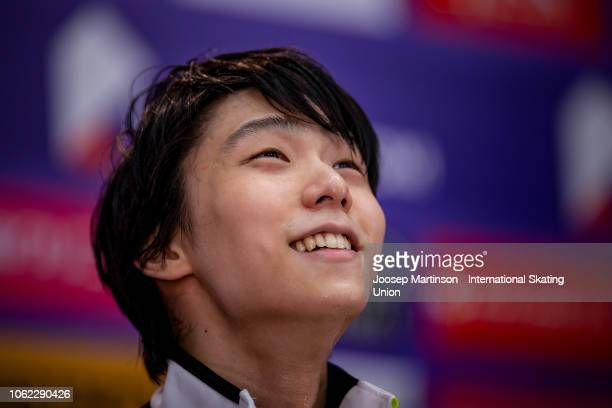 Yuzuru Hanyu of Japan reacts at the kiss and cry in the Men's Short Program during day 1 of the ISU Grand Prix of Figure Skating Rostelecom Cup 2018...