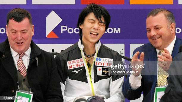 Yuzuru Hanyu of Japan reacts at the kiss cry after competing in the Men's Singles Short Program on day one of the ISU Grand Prix of Figure Skating...