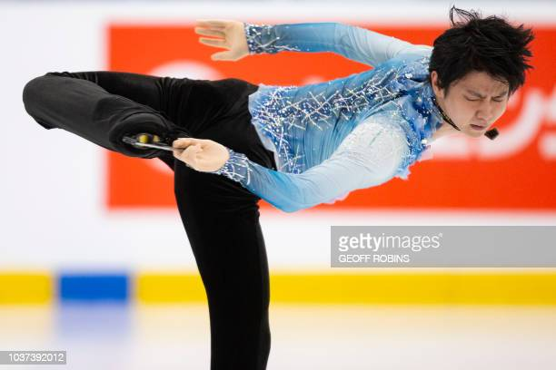 Yuzuru Hanyu of Japan skates his short program in the men's competition at the 2018 Skate Canada Autumn Classic event in Oakville Ontario on...