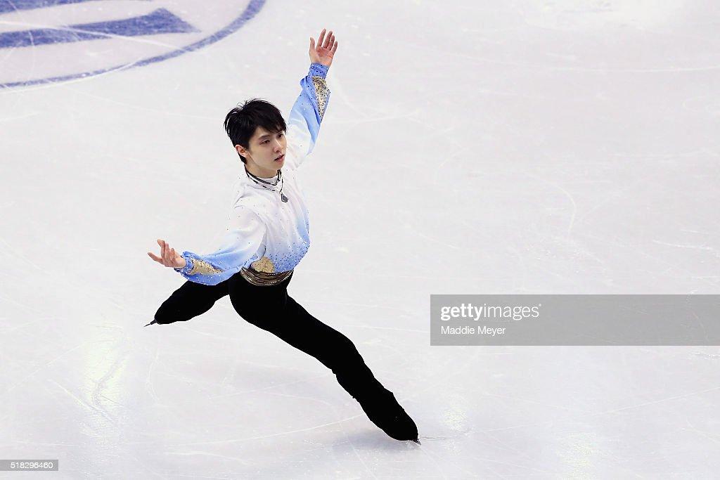 Yuzuru Hanyu of Japan skates in the Men's Short program during day 3 of the ISU World Figure Skating Championships 2016 at TD Garden on March 30, 2016 in Boston, Massachusetts.