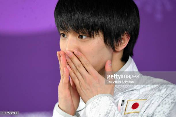 Yuzuru Hanyu of Japan speaks to media reporters during a press conference at Gangneung Ice Arena during day four of the PyeongChang Winter Olympic...