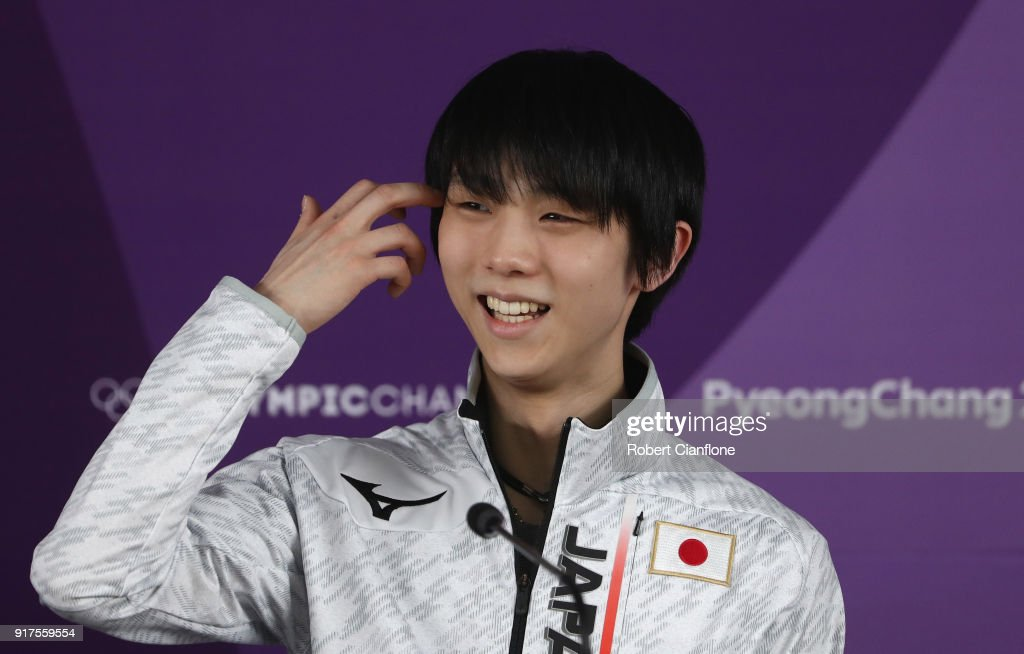 Yuzuru Hanyu of Japan speaks to the meida during a press conference at Gangneung Ice Arena during day 4 on February 13, 2018 in Pyeongchang-gun, South Korea.