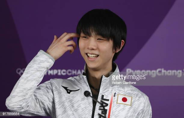 Yuzuru Hanyu of Japan speaks to the meida during a press conference at Gangneung Ice Arena during day 4 on February 13 2018 in Pyeongchanggun South...