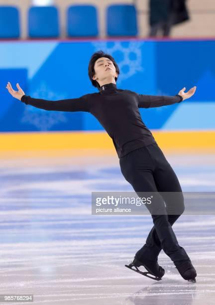 Yuzuru Hanyu of Japan training at the Gangneung Ice Arena in Gangneung South Korea 12 February 2018 Photo Peter Kneffel/dpa