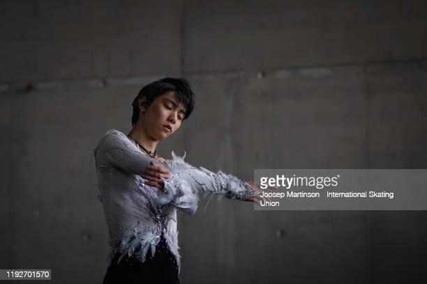 Yuzuru Hanyu of Japan warming up ahead of the Gala Exhibition during the ISU Grand Prix of Figure Skating Final at Palavela Arena on December 08,...