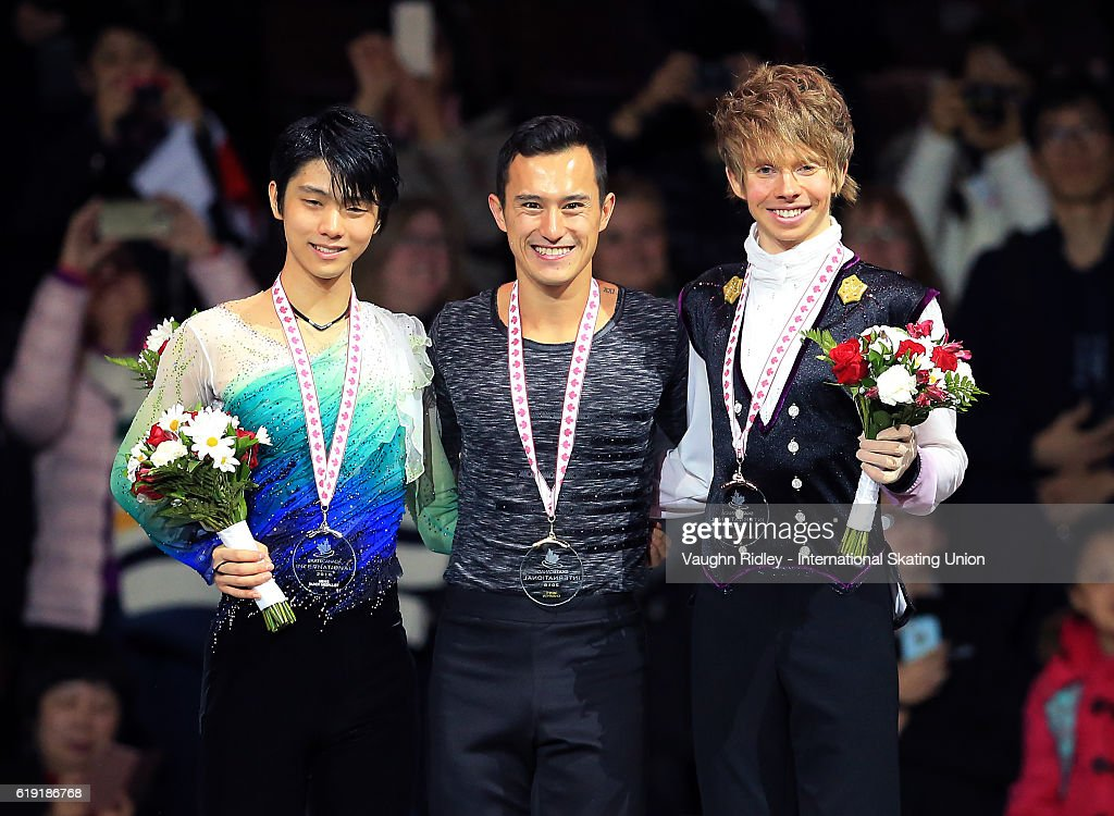 Yuzuru Hanyu of Japan wins Silver, Patrick Chan of Canada wins Gold and Kevin Reynolds of Canada wins Bronze following the Ice Dance Free Program during the ISU Grand Prix of Figure Skating Skate Canada International at Hershey Centre on October 29, 2016 in Mississauga, Canada.