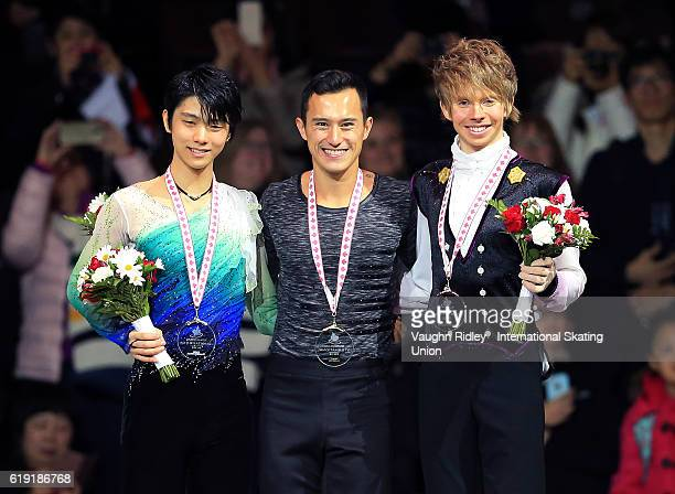 Yuzuru Hanyu of Japan wins Silver Patrick Chan of Canada wins Gold and Kevin Reynolds of Canada wins Bronze following the Ice Dance Free Program...
